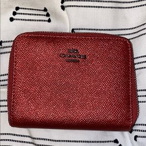 Coach Small Zip Around Wallet - Brass/Deep Red